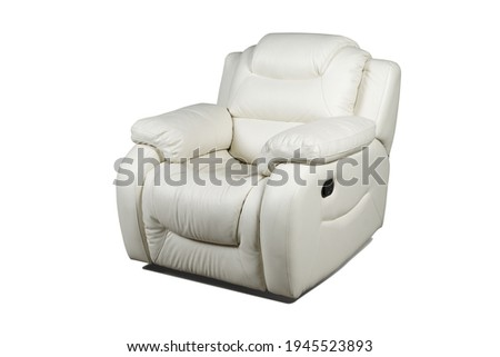 Comfortable white leather recliner armchair isolated on white background ストックフォト ©