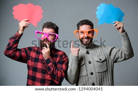 Comic and humor sense. Men with beard and mustache mature hipster wear funny eyeglasses. Explain humor concept. Funny story and humor. Comic idea. Men joking. Share opinion speech bubble copy space.