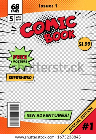 Comic book cover page template. Cartoon pop art comic book title poster, superhero comic book title page  isolated cover template illustration. Old school comics special edition