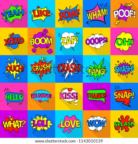 Comic colored sound icons set. Flat illustration of 25 comic colored sound icons for web #1143010139