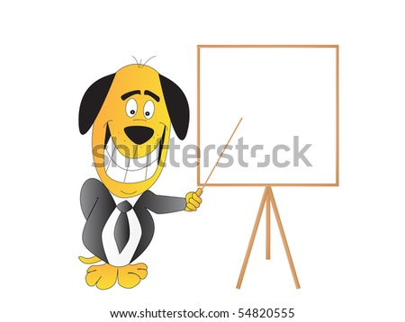Comic illustration of a smiling dog with blank board
