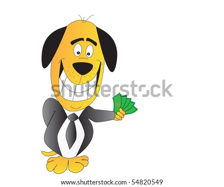 Comic illustration of a smiling dog with money