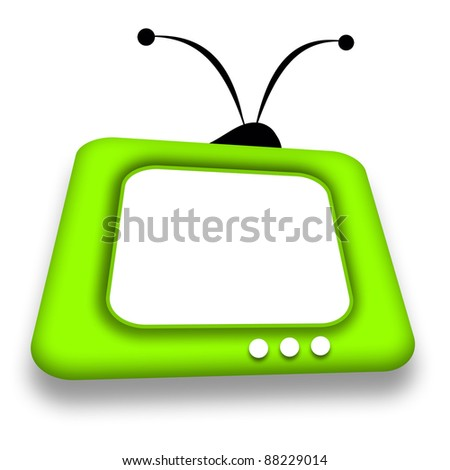 Comic retro TV with blank white screen