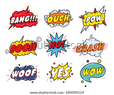 Comic sound speech effect bubbles set isolated on white background illustration. Wow,pow,bang,ouch,crash,woof,no,yes lettering.