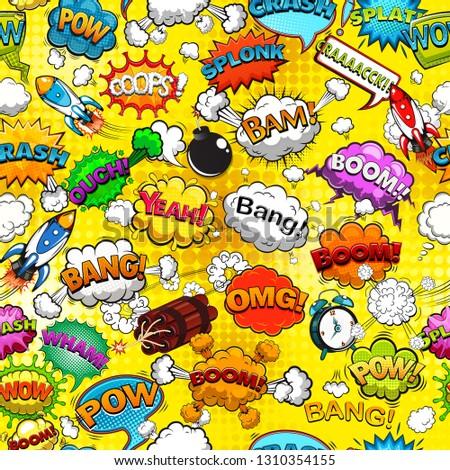 Comic speech bubbles seamless pattern on yellow background illustration #1310354155