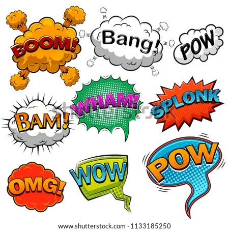 Comic speech bubbles. Sound effects illustration #1133185250