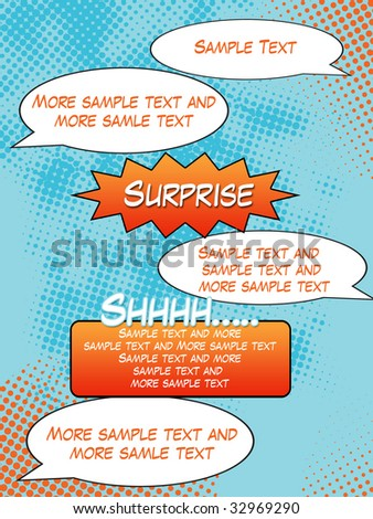 Comic Strip Background with sample text - stock photo