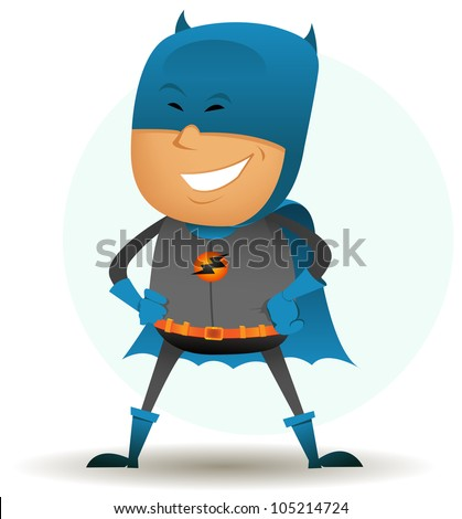 Stock Photo Comic Superhero Character/ Illustration of a funny cartoon comic superhero character with gray and blue disguise  standing proudly
