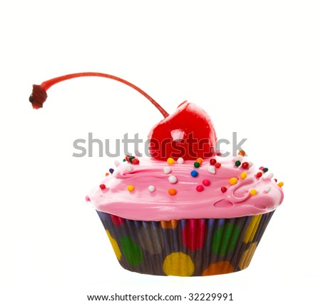 Comical Cupcake.  A wide angle view of a delectable pink cherry cupcake.  Shot on white background. - stock photo