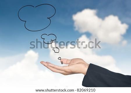 comics bubble and hands against cloud blue sky