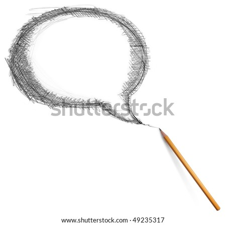 comics bubble and pencil isolated on white background