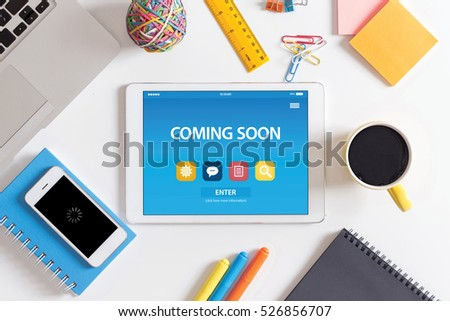 COMING SOON CONCEPT ON TABLET PC SCREEN