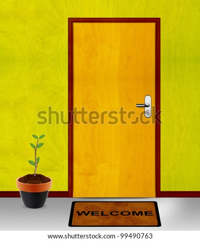coming soon conceptual image, closed door with coming soon message. - stock photo