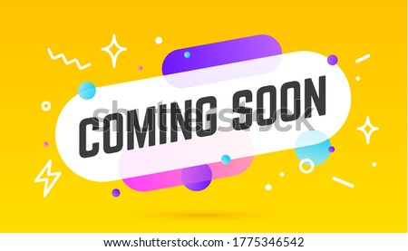 Coming soon, speech bubble. Banner, poster, speech bubble with text Coming soon. Geometric memphis style with message coming soon. Explosion burst design, speech bubble. Illustration