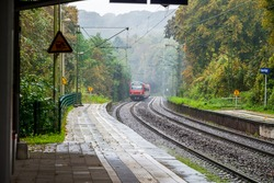 Coming train to station in west germany