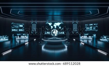 Command center interior, 3D rendering Stock photo ©