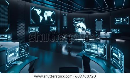 Command center interior, 3D rendering Foto d'archivio ©