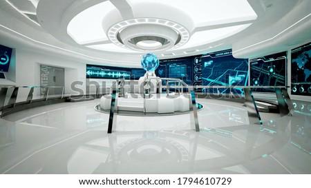 Command center, interior design, 3D rendering, control room Stock photo ©