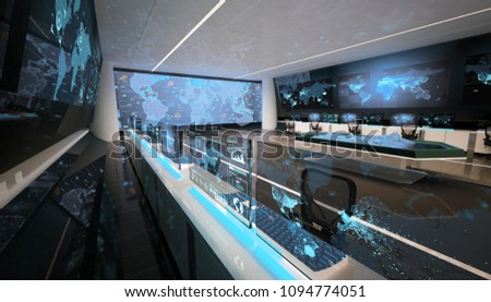Command center interior, holographic table, office with big screens, 3D rendering, 3D illustration
