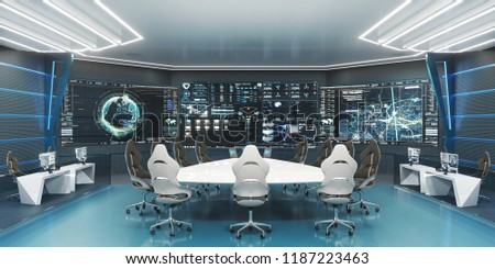 Command, control center, concept design, big displays with big desk in center, 3D rendering