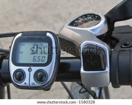 command table, speed meter and gear shifter of the modern off-road mountain bicycle