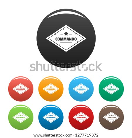 Commando troop icons set 9 color isolated on white for any design