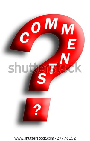 Comments concept embedded in a question mark isolated on white