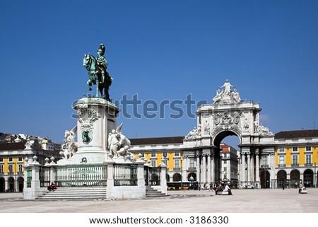 Commerce Square in Lisbon , Portugal
