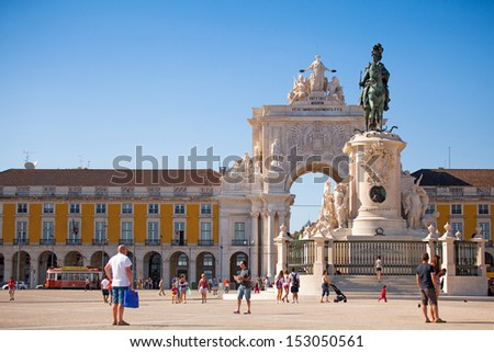 Commerce Square with Rua Augusta Arch at the end. Lisbon. - stock photo