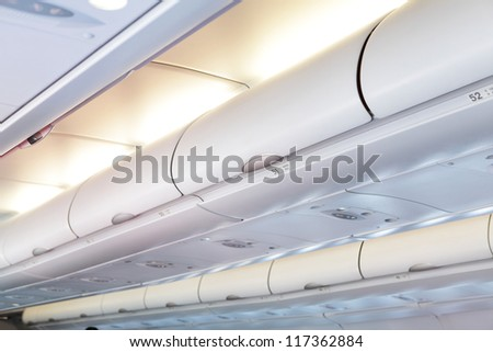 Commercial aircraft interior in Plane cabin