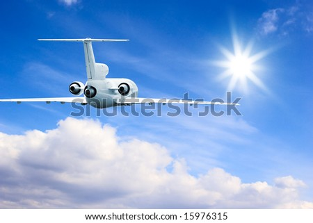 Commercial airliner flying in high sky