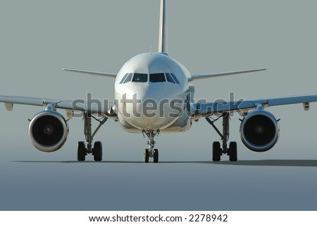 Commercial airliner taxiing with neutral background