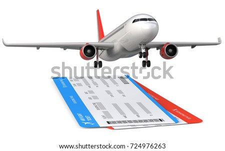 Commercial airplane, airliner with two airline, air flight tickets . Passenger plane take Off, 3D rendering isolated on white background