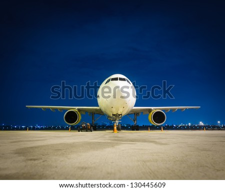 Commercial airplane at night