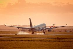 Commercial airplane landing on international airport, Prague.