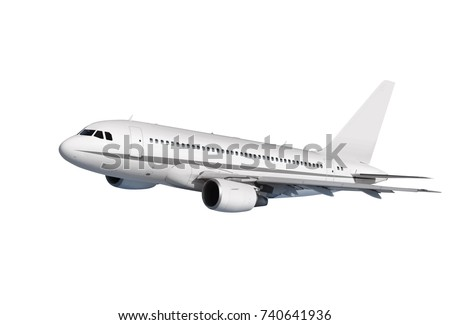 commercial airplane on white background with path #740641936