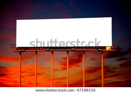 Commercial blank billboard dusk cloudy sky on background