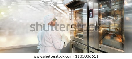 Commercial bread oven with a baker #1185086611