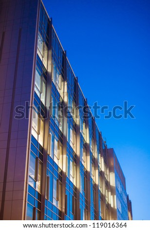 Commercial building, architectural detail, seen at dusk