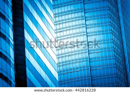 Commercial Building Close Up in blue tone