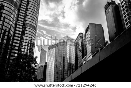 Commercial building in Hong Kong with B&W color #721294246