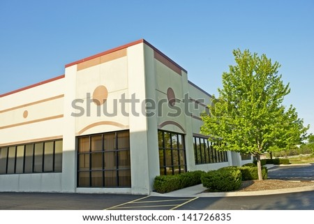 Commercial Building - Retail Building Corner Office Space. Commercial Architecture.