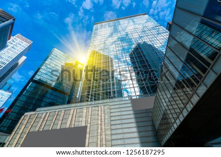 Commercial buildings in Hongkong are low angle, China, #1256187295