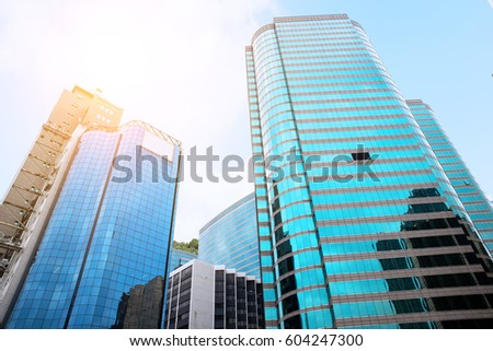 commercial buildings office buildings with beautiful glass wall #604247300