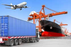 Commercial delivery cargo container truck on road and Aircraft flight at airport link with container ship being unloaded in the harbor transportation concept