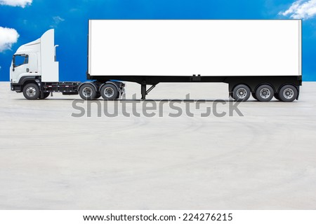 commercial delivery cargo container truck with white trailer blank for design against blue sky