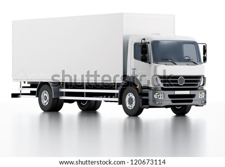 Commercial Delivery / Cargo Truck 3d render isolated on white.   NEW UPDATE!!! VECTOR VERSION see in my portfolio.