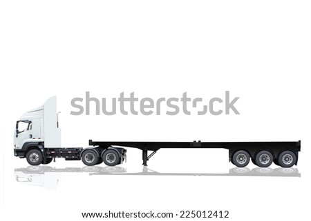 commercial delivery cargo truck with trailer blank for design isolated on white background with clipping path #225012412