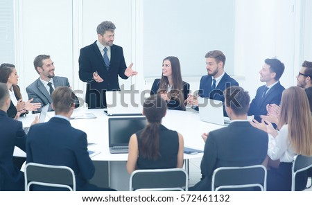 commercial Director begins the workshop with business team Сток-фото ©