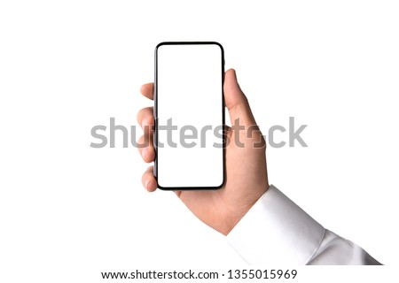 Commercial hand model, business man holding smartphone, blank screen, template, isolated on white background